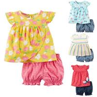 c1dd12f610c3 Flower Baby Girl Clothes Set Children Dresses Newborn Outfits Cotton  Clothing Suit Girls Blouse Short Pant 6 9 12 18 24 Month