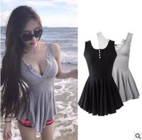 Wholesale Ladies Black Pleated Mini Skirt - Summer women dress Sexy buttoned pleated skirt Solid Grey black sleeveless dress Casual holiday ladies clothing