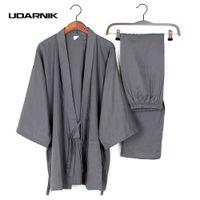 Wholesale kimono pants - Men Cotton Long Winter Kimono Pajamas Pants Set House Coat Sleepwear Japanese 901-241