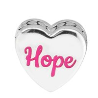 Wholesale Enamel Ribbon Charms - 2017 Winter New Authentic S925 Sterling Silver Love Hearts Bead Red Enamel Hope Ribbon Heart Charm Fit Brand Bracelets DIY Jewelry Making