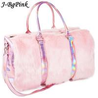 rosa handtasche tote boston großhandel-Weiche Regenbogen-Handtaschen Süße Mädchen-Kunstpelzfrauen-Tragetaschen Große Kapazität Laser Symphony Pink Shoulder BagsTravel Boston Bags