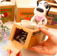 hundespeicherung großhandel-Heißer verkauf niedlichen gierigen hund modell sparschwein kreative münze aufbewahrungsbox catoon spardose kindergeburtstagsgeschenk t3i0126