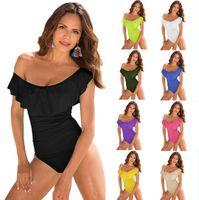 Wholesale Ruffle Monokini Swimsuit One Piece - Women Ruffle Swimsuit Bikini Summer Bathing Suit Beachwear Swimwear One Piece Swimsuit Monokini Push Up Padded Bikini Bathing EEA155