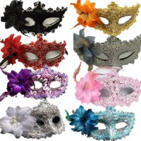 Wholesale masquerade costumes for men - Originality Halloween Feather Face Maks Masquerade Costume Party Supplies Fashion Men And Women Flower False Mask 2 3hj Ww