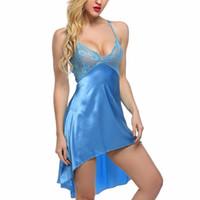 xl babydolls al por mayor-Ropa interior atractiva de la ropa interior de las mujeres Ropa de seda artificial Robes camisón Babydolls ropa de dormir irregular