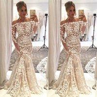 uzun beyaz mermaid elbiseler toptan satış-Zarif Beyaz Dantel Mermaid Abiye Kapalı Omuz Uzun Kollu Sweep Tren Muhteşem Balo Parti Elbise