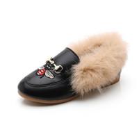 botas para niños chicos niña al por mayor-2018 Nuevos Botas para niños Abejas bordado Zapatos para niñas Botas para niños Chicos Zapatos para niños Botas para niños pequeños Zapatos de invierno para niñas