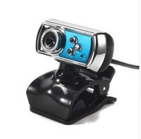 usb blue mic al por mayor-12 MP Webcam HD Alta definición 3 LED Cámara web USB con micrófono Visión nocturna para PC Periféricos para computadora Azul