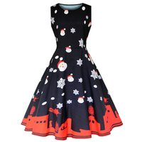Wholesale plus size womens summer clothing online - Women s Clothing Summer fashion plus size Black Casual Dresses for womens Hepburn wind Sleeveless vintage prom dress expansion skirt