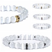 Wholesale jewelry moonstone beads - Fashion White Moonstone Beads Bracelet Charms Gold Silver Color Braclets for Women Men Yoga Meditation Jewelry