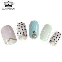 neue glitzer nagelspitzen entwirft großhandel-Neue 20 Stücke gefälschte Nägel kurze Presse auf Nägel falsche mit Pre Design Faux Ongles Glitter Nagelspitzen mit hellen Strass