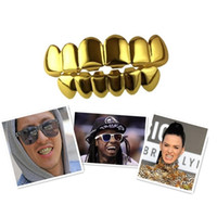 Wholesale Hot Sale Hip Hop Gold Teeth Grillz Top Bottom Grills Dental Mouth Punk Teeth Caps Cosplay Party Tooth Rapper Jewelry Gift Free Ship