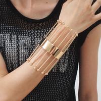 ingrosso lunghi i braccialetti del polsino-Braccialetti geometrici del metallo della saldatura a strisce della lunga striscia del braccialetto del polsino di UKMOC per gli accessori dei monili di modo delle donne 2018