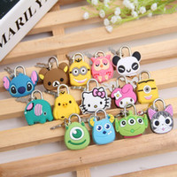Wholesale anime avengers online - Cute Cartoon Anime Silicone Keychain Lock Stitch Kitty Key Chains Caps The Avengers Hero Holder Women Car Keychains Lock
