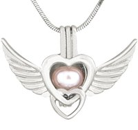 Wholesale red heart wings charm - New Antique Silver Angel Wings Love Heart Pendant Necklaces for Women Pearl Locket Charms Cage Pendant 190 Styles CP036