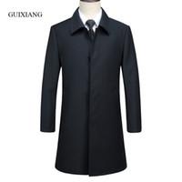 boutique de trincheiras venda por atacado-2017 novo estilo de chegada dos homens boutique trench coat business casual sólidos botão coberto dos homens casaco preto casaco tamanho M-3XL