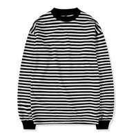 erkekler için uzun kollu gömlekler toptan satış-Yeni Erkekler T gömlek Hip hop Moda YUVARLAK UZUN kollu beyaz Çizgili T-SHIRT Adam Üst Tee Boyutu drop Shipping yüksek kalite 2018