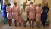 mutter braut robe großhandel-Satin Seide personalisierte Hochzeit baden Robe Brautjungfer Braut Mutter Bademantel