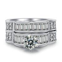 joyería de cristal blanco de la joyería fija al por mayor-Forma ondulada única Anillo de diamantes Cristal de circón Joyería 10KT Anillo de compromiso de boda nupcial de oro blanco Tamaño 5-12