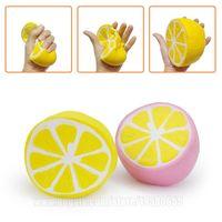 Wholesale Soft Toy Fruits - Squishy Citrus Lemon Kids Soft Phone Pendant Fruit Simulation Squeeze Perfume Slow Rising Anti Stress Squishies Toy Free Shipping SQU015