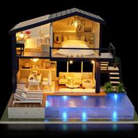 muebles de casa de muñecas muñecas al por mayor-Nueva Chica DIY 3D De Madera Mini Casa de Muñecas 2018 Tiempo Apartamento Casa de Muñecas Muebles Juguetes Educativos Muebles Para niños Amor Regalo