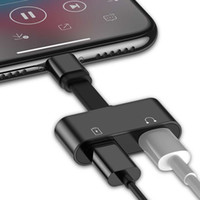 adaptador de conector de cargador al por mayor-Adaptador de audio para iPhone 7 8 Plus X Carga / Audio 2 en 1 Adaptador de cable del cargador Para el enchufe del iphone Cable para auriculares Cable AUX
