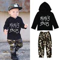 jungs camo kleidung großhandel-Kleinkinder Jungen Camo Outfits 2pc Sets schwarz mama's Jungen drucken Langarm-Kapuzen-T-Shirt + grüne Camouflage Hosen Freizeitkleidung für 1-5T