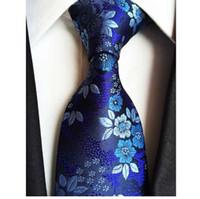 marineblau silk hochzeit blumen großhandel-Fabrik 7 Styles Navy Blue Floral Blumen Jacquard Klassische Männer Krawatten 100% Seide Hochzeit Gravatas Bräutigam Krawatte