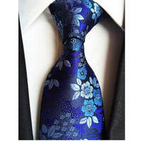 ingrosso fiori di nozze blu di seta blu-Factory 7 Styles Blu Navy Fiori Floreali Jacquard Classici Uomini Cravatte 100% Seta Festa di Nozze Gravatas Sposo cravatta cravatta