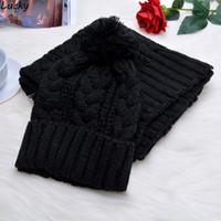 sombreros de lana blancos al por mayor-Mujer niña conjunto de gorro y bufanda de invierno Kit de mezcla de lana cálida tejida tejer gorra de ocio femenino blanco gris negro rojo
