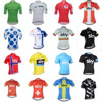 Wholesale sky cycling jersey blue - TOUR DE SPAIN UHC SKY team Cycling Short Sleeves jersey 2018 NEW High quality MTB bike ropa ciclismo Breathable racing Sportwear C2608