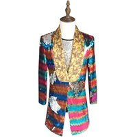 Wholesale prom suits for sale - Colorful Sequin Blazer Men New Long Blazer Suit Jacket Gold Green Pink Prom Blazers For Men Stage DJ Singer Clothing xl