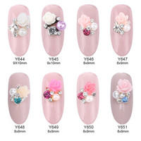 Wholesale nail design stickers - 50pcs Flower square rhinestones pearl nail art design charms 3d nails decorations stickers accesories supply Y644~651