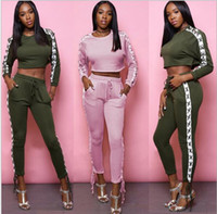 Wholesale lace outfits for women - Casual Lace Up Two Piece Set Autumn Winter Bandage Long Pant Suit Sexy Crop Top Outfits For Women Tracksuit