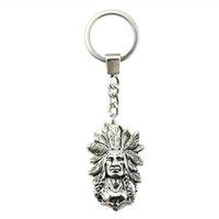 indische paar ringe großhandel-6 Stück Schlüsselanhänger Frauen Schlüsselanhänger Paar Keychain Für Schlüssel Indian Chief 58x35mm