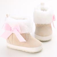 Wholesale Fur Boots Newborn - Cute Toddler Baby Boys Girls Bowknot Winter Shoes Newborn Prewalker Winter Snow Warm Bow Boots Soft Shoes Beige