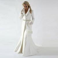 Wholesale long sleeve fur bolero jacket for sale - Group buy Modern Chapel Train Winter Bridal Cloak Jacket Long Sleeves Fur Wedding coat Cute Shawl Coat Satin Fabric With Faux Fur Sequin Beaded