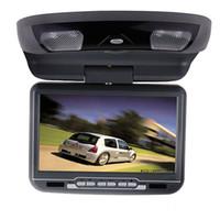 dvd montagem carros venda por atacado-Único carro de 9 polegada flip down dvd player USB SD FM IR jogo de montagem no teto do carro dvd player Preto Tan Cinza