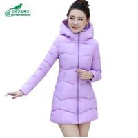 Wholesale Ladies Down Coat Medium - Wholesale- OKXGNZ 2017 New Winter Jacket Women Thicken Hooded Warm Jackets Coats Parka Ladies Medium-Long Large size Cotton Down JacketA688