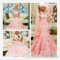 African Style Pink Muslim Mermaid Wedding Dresses With Half Sleeve Appliqued Nigerian Bridal Gown Covered Buttons Arabic Women 2018
