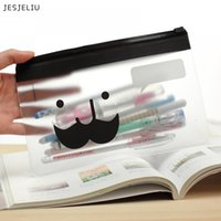 Wholesale korea office bags - JESJELIU Korea Transparent Moustache Smile Office Cosmetic Stationery Pencil Bag Pouch