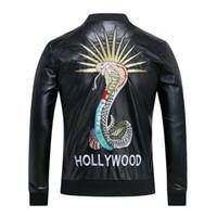 Wholesale Original Leather Jackets - 2018 Hot style Original Designer man Men's Jackets male jacket coat Genuine leather Black long-sleeved Men's Clothing Free Shipping