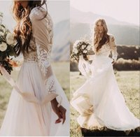 Wholesale Long Gold Dresses For Cheap - Bohemian Country Wedding Dresses With Sheer Long Sleeves Bateau Neck A Line Lace Applique Chiffon Boho Bridal Gowns Cheap Dress for Wedding