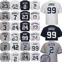 Wholesale Blue Don - 99 Aaron Judge 2 24 23 Don Mattingly Baseball Jersey 3 Babe Ruth 7 Mickey Mantle 42 Mariano Rivera 51 Bernie Williams Jerseys