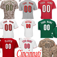 Wholesale Road Number - Men's women youth Cincinnati Customized any name number Flexbase Road Cool Base camo white grey RED Baseball Jersey stitched s-4xl
