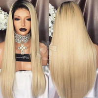 Wholesale long blonde wigs for cheap - Cheap Beautiful 1b 613 27# Color Ombre Blonde Silky Straight Long Wigs Synthetic Heat Resistant Glueless Lace Front Wigs for Black Women