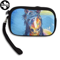 Wholesale black white horse paintings resale online - SAMCUSTOM Custom Oil painting horse D Print New Women s small purse male and female Small wallet Fashion Casual Girl Coin Purse