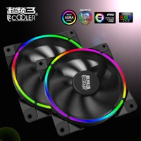 Wholesale Led Computer Case Fans - Wholesale-Pccooler 12cm case fan Halo LED AURA RGB 4pin PWM Quiet Suit for CPU cooler Liquid cooler 120mm computer cooling fan 1 PCS