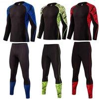 мужское нижнее белье оптовых-Men's Sport Running Suit Thermal Underwear Base Layer 2 Piece Tracksuit Men Compression For Gym Clothes Crossfit Tshirt Leggings