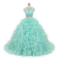 ingrosso il breve vestito promana il treno staccabile-Mint Green Quinceanera Dress Due pezzi brevi abiti da ballo con abiti da ballo staccabili in pizzo vestido de festa